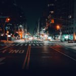 Empty NYC street at night