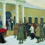 A painting by Boris Kustodiev depicting Russian serfs listening to the proclamation of the Emancipation Manifesto in
