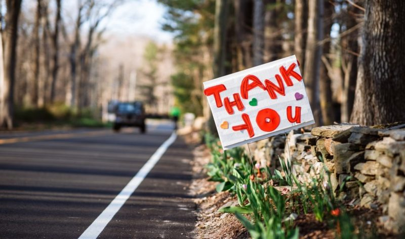 """""""Thank you"""" sign"""