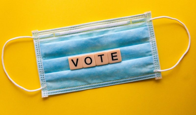 Vote Scrabble letter with facemask
