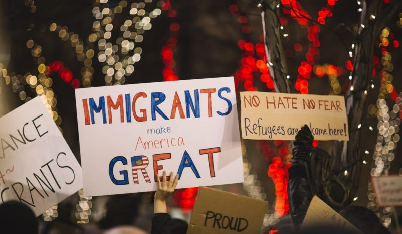 """""""Immigrants are great"""" protest sign"""