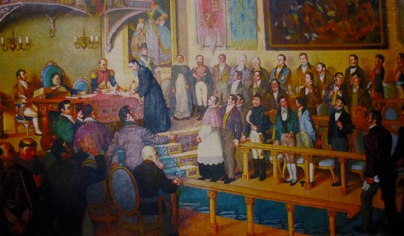 A painting by Chilean painter Luis Vergara Ahumada, depicting the signing of the Act by Father José Matías Delgado